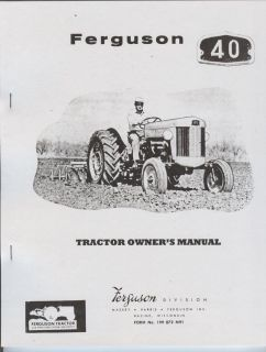 Ferguson 40 Tractor Owners Manual Book Massey Harris