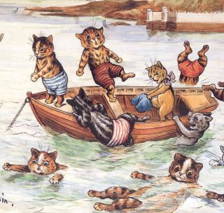 LOUIS WAIN.CHROMOLITHOGRAPH PRINT,CATS SWIMMING,ROW BOAT,BEACH,HIGH