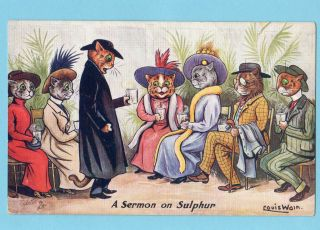 Old Postcard Artist Louis Wain Comic Dressed Cats Priest