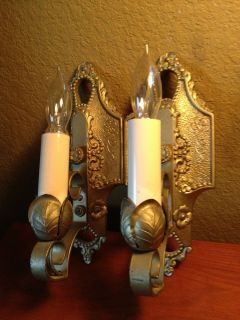 Pair Vintage Antique 1930s Art Deco Nouveau Lincoln Wall Sconces Iron
