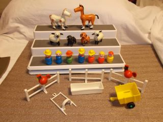 Vintage Fisher Price Little People Farm Animals Horse Cow Pig Sheep