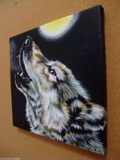 Wolf Howling Moon Wolves Canis Lupus Gray Original Painting Art