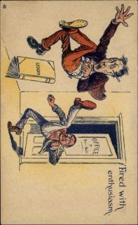 Man Kicks Another Man Out of Office Comic c1910 Postcard