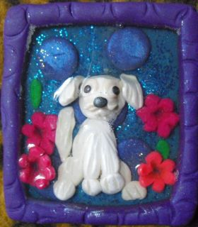 Maltese puppy dog fridge strong magnet handmade original art polymer