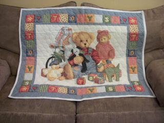 New Blue Jean Teddy Baby Quilt Blanket Nursery Gift