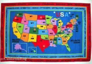 Educational State Capitals Map United States America USA New
