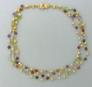 Marco Bicego 18K Yellow Gold Multi Color Gemstone Necklace