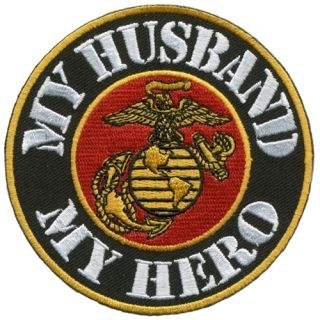 My Husband My Hero Military USMC Marine Corps Vet Embroidered Biker