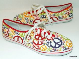 So Cute Womens Vans Peace Sign Skater Shoes Sneakers Sz 10