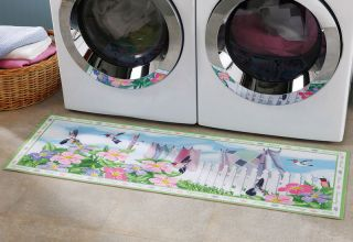 Hummingbird Laundry Room Runner Rug Colorful Floral Decor