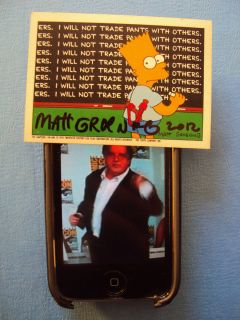 MATT GROENING AUTOGRAPHED BART SIMPSON TOPPS TRADING CARD 1990 SIGNED