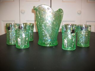Imperial Carnival Glass Tiger Lilly Ice Green Drink Set