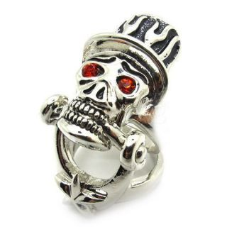 Mens Gothic Skull Red Shine Eyes Magician Full Finger Ring Stainless