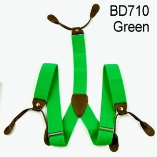 New Mens Adjustable Button Holes Unisex suspenders womens Braces Green