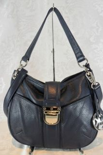 Michael Kors Navy Leather Riley Crossbody Shoulder Satchel