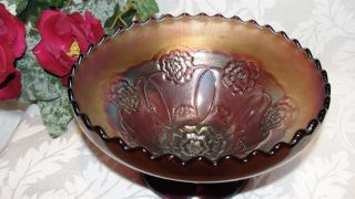 Dugan Amethyst Merigold Double Stem Rose Crnival Glass Bowl