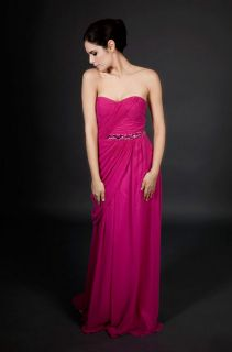 Mikael Aghal Enchanting Fuchsia Long Gown Dress 10 New
