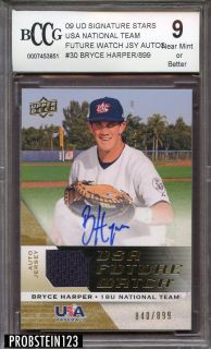 2009 UD Signature Stars Bryce Harper Rookie RC AUTO Game Used Jersey