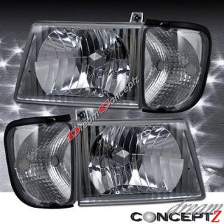 1992 2004 FORD ECONOLINE VAN HEADLIGHTS PAIR w/ CLEAR CORNERS 4 pieces
