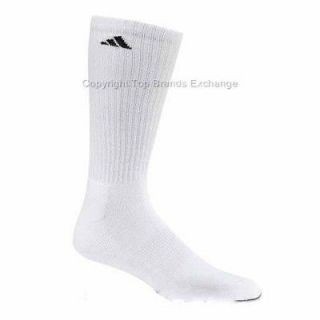 Pair Mens Adidas White Crew Socks Large Cushioned Tennis Basketball