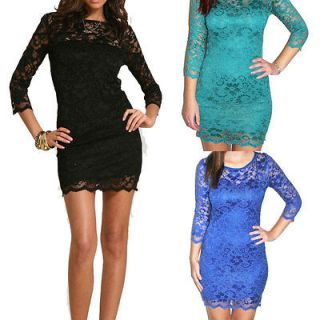 Women Sexy Lace Dress 3/4 Sleeve Slash Neck Bodycon Cocktail Evening