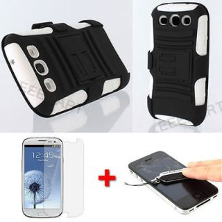 White Impact Hybrid Hard Case Cover Belt Clip Holster Samsung Galaxy S