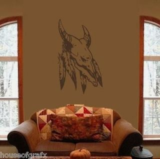 Indian Native American Feathers Skull Wall Art Decal Decals Stickers