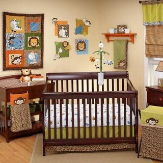 Brown Jungle Safari Animals Baby Boy 4p Print Nursery Crib Bedding Set