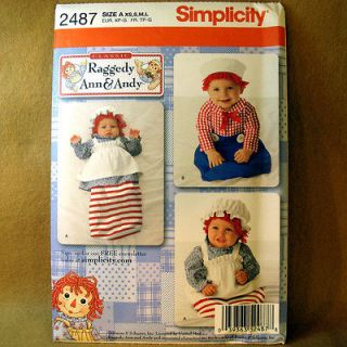 2487 Raggedy Ann & Andy Costume Sewing Pattern Toddler Child Sz XS L