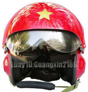 New Chinese Glossy Red Military Jet Flight Pilot Helmet All Sizes