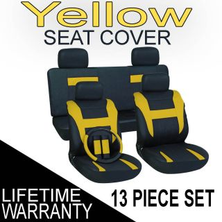 Yellow Black Auto Car Seat Cover FREE Steering Wheel Belt Pad Head Re