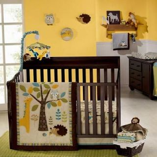 Striped Leaf Tree w/ Giraffe and Owl Neutral Baby Crib Bedding Set