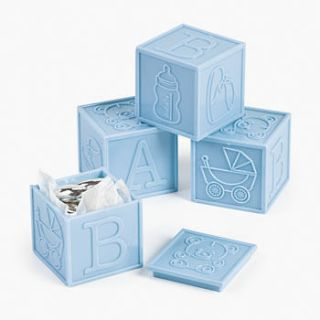 BLUE BABY BOY SHOWER BLOCKS FAVORS DECORATIONS (LOT OF 12) NEW NICE