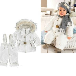 Baby Boy Girls winter Quilted Snow Ski Suit Jacket +Brace Pant 2pcs
