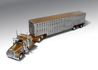 SHOP MAFIA PETERBILT 379 SLEEPER W/SPREAD AXEL LIVESTOCK TRAILER 1/64