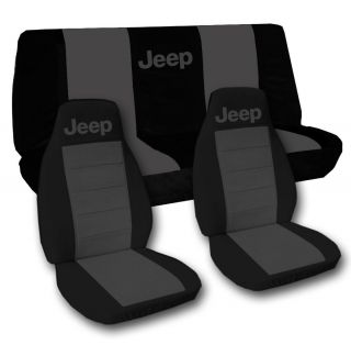 Jeep wrangler TJ front+back car seat covers solid black charcoal w