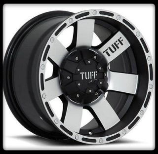 TUFF WHEELS T02 BLACK RIMS & 33X10.50X15 BFGOODRICH TA KM2 M/T TIRES