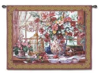 VICTORIAN FLORAL BIRD CAGE ART TAPESTRY WALL HANGING