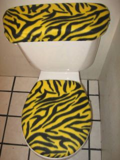 YELLOW AND BLACK ZEBRA TOILET SEAT COVER SET