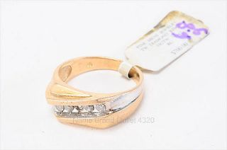 vintage auth 9.5 yellow gold 14K mens DIAMOND ring 6.8g PREOWNED