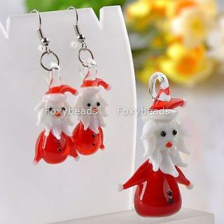 Red Lampwork Glass Murano Santa Jewelry Set Pendant&Earring XMas Gift
