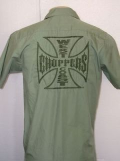 JESSE JAMES WEST COAST CHOPPERS EMBROIDERED M/C CLUB GREEN CAMP SHIRT