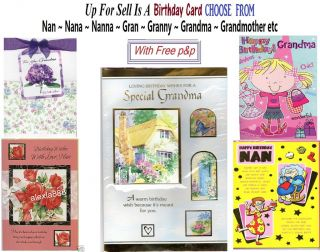 Nan Nanna Nana Nanny Gran Grandma Grandmother Birthday Card For To