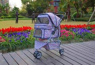 New BestPet 3 Wheels Pink Leopard Pet Dog Cat Stroller w/RainCover