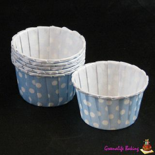 Blue Polka Dot Polkadot Cupcake Cake Muffin Baking Display Cup Case