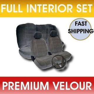 GRAY Velour Low Back Cloth Seat Covers Fabric Steering Wheel Set CS4