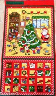 ADVENT CALENDAR fabric panel Santa fabric CALENDAR Christmas Tree FREE