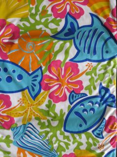 TROPICAL FISH Sea Shells VINYL Umbrella Tablecloth NIP
