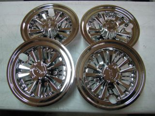 Golf Cart Chrome 8 Wheel Covers Hub Caps (Set of 4) Fit EZ GO Yamaha