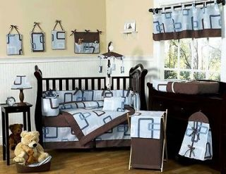 BLUE BROWN 9pc BABY BOY CRIB BEDDING COMFORTER SET ROOM COLLECTION